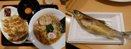 佐野サービスエリアの佐野ラーメン(と餃子と生卵)と鮎の塩焼き、いささか食べすぎ