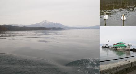 猪苗代湖と磐梯山と白鳥とはくちょう丸とかめ丸
